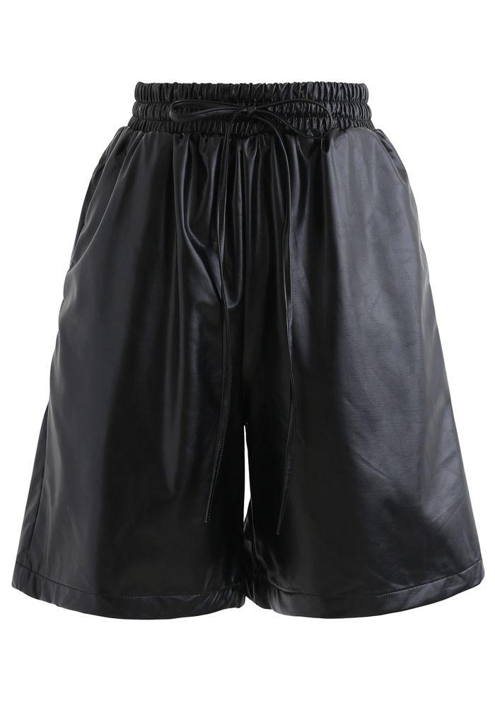 Drawstring PU Leather Shorts in Black