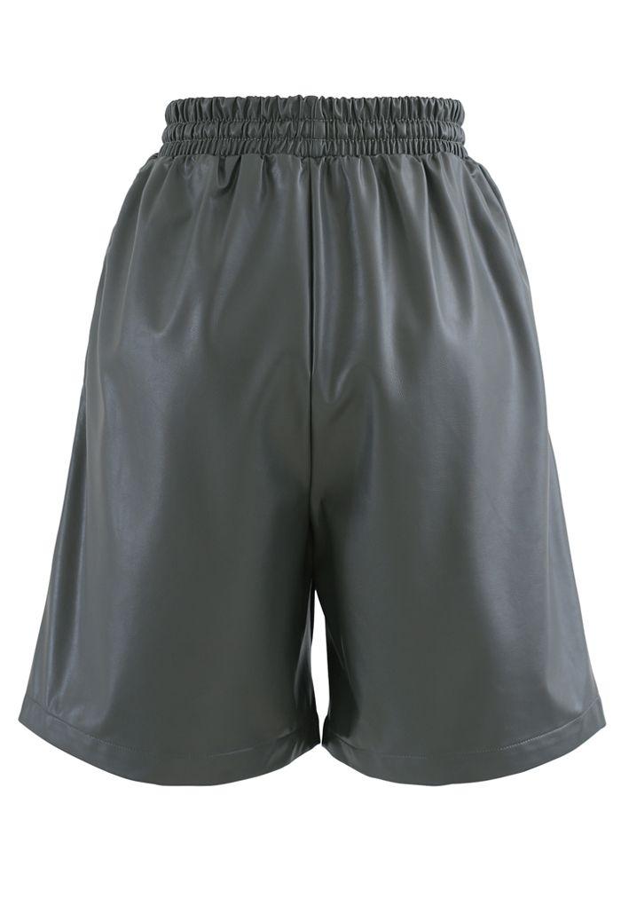 Drawstring PU Leather Shorts in Grey