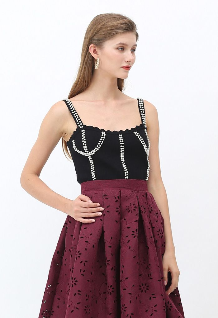 Faux Pearl Embellished Ribbed Knit Top in Black