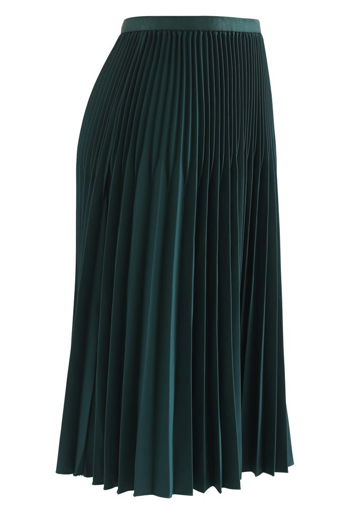 Solid Color Pleated A-Line Midi Skirt in Emerald