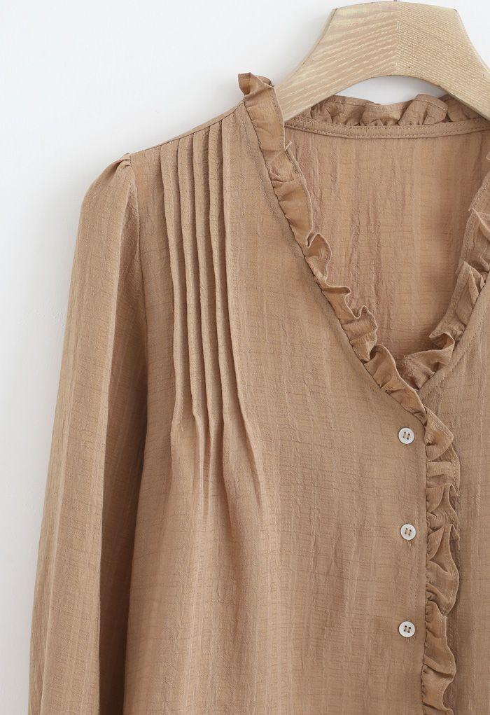 Ruffle Trims V-Neck Shirt in Tan