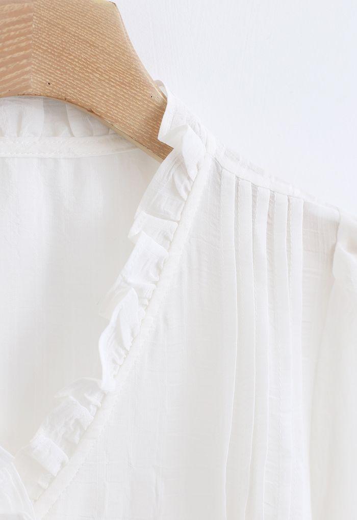 Ruffle Trims V-Neck Shirt in White