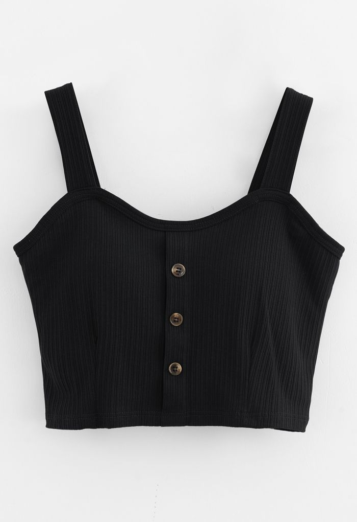 Buttoned Front Strappy Crop Tank Top in Black