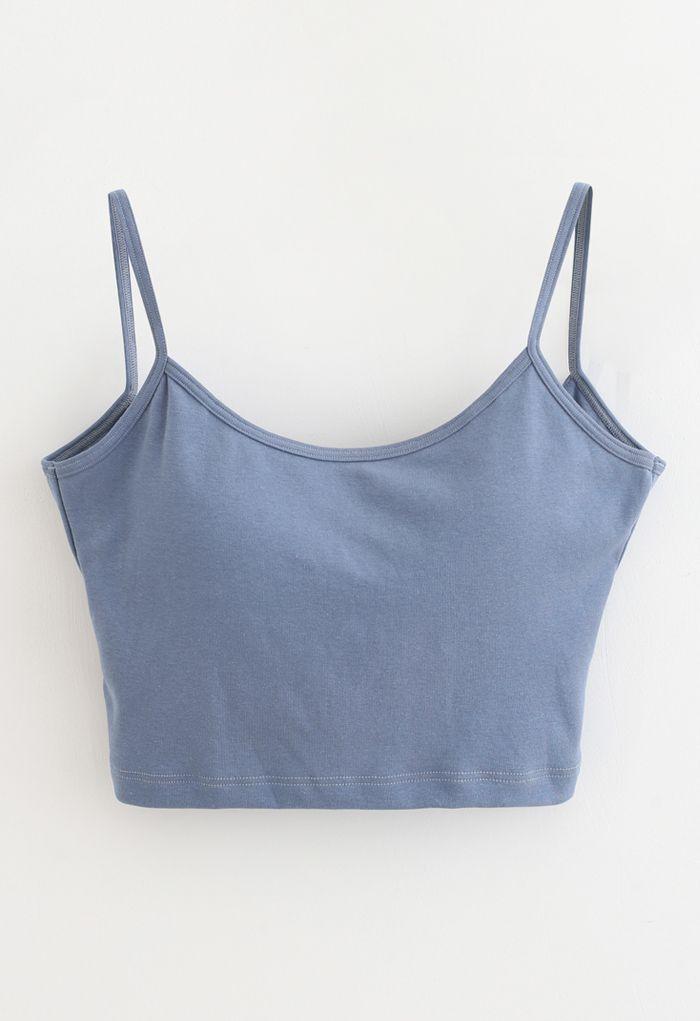 Twist Back Cami Bra Top in Dusty Blue