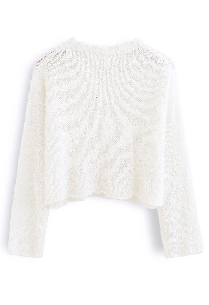 Cropped Fluffy Hollow Out Knit Sweater in White