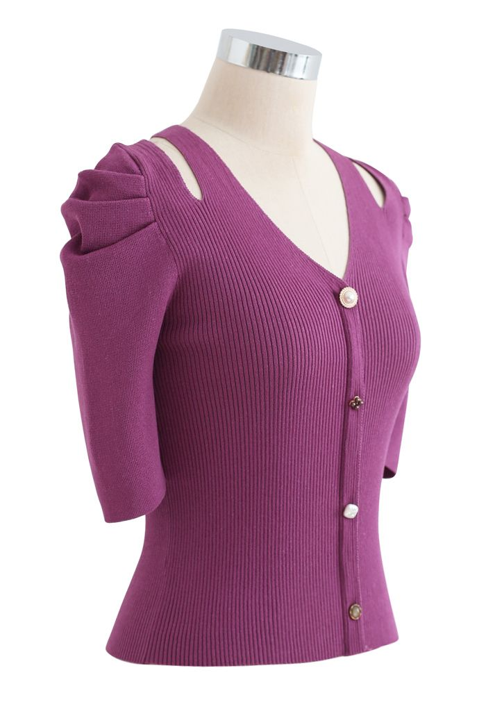 Cutout Shoulder Button Down Fitted Knit Top in Violet