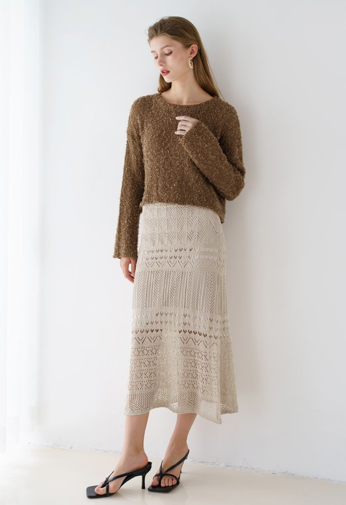 Cropped Fluffy Hollow Out Knit Sweater in Brown