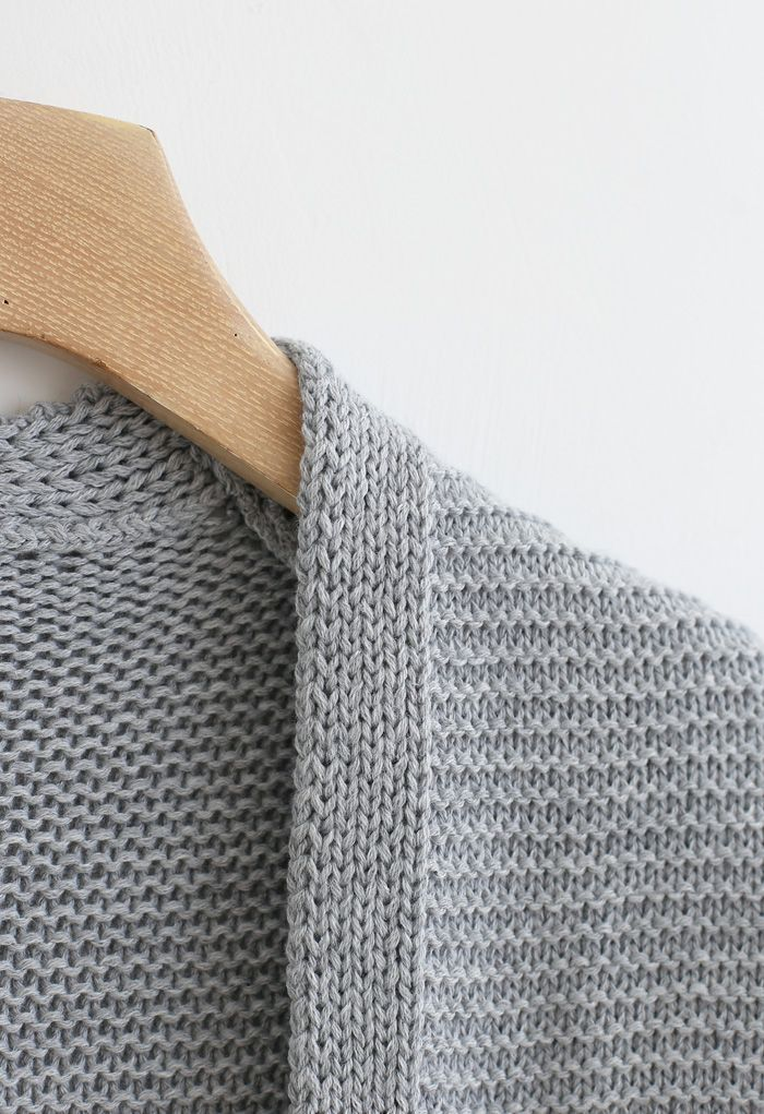 Basic Pockets Open Front Knit Cardigan in Grey