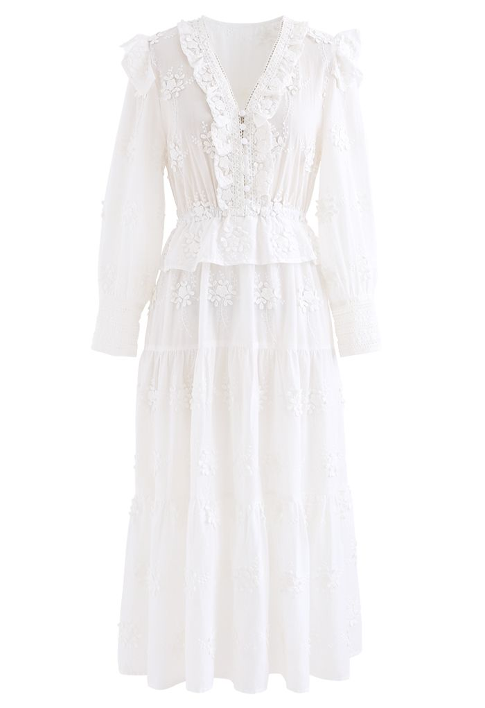 3D Bouquet Embroidered Button Down Midi Dress