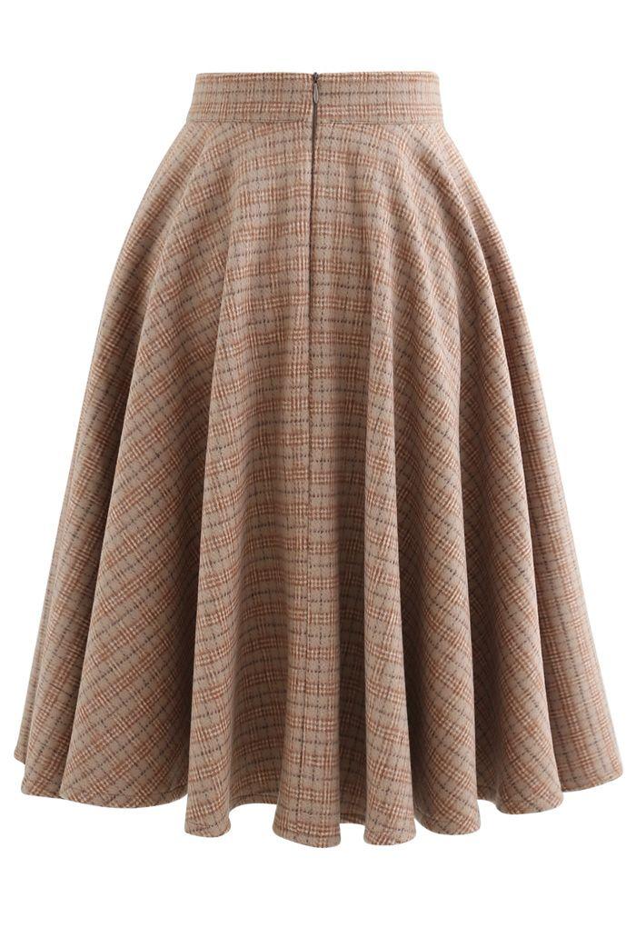 Check Print Wool-Blended A-Line Skirt