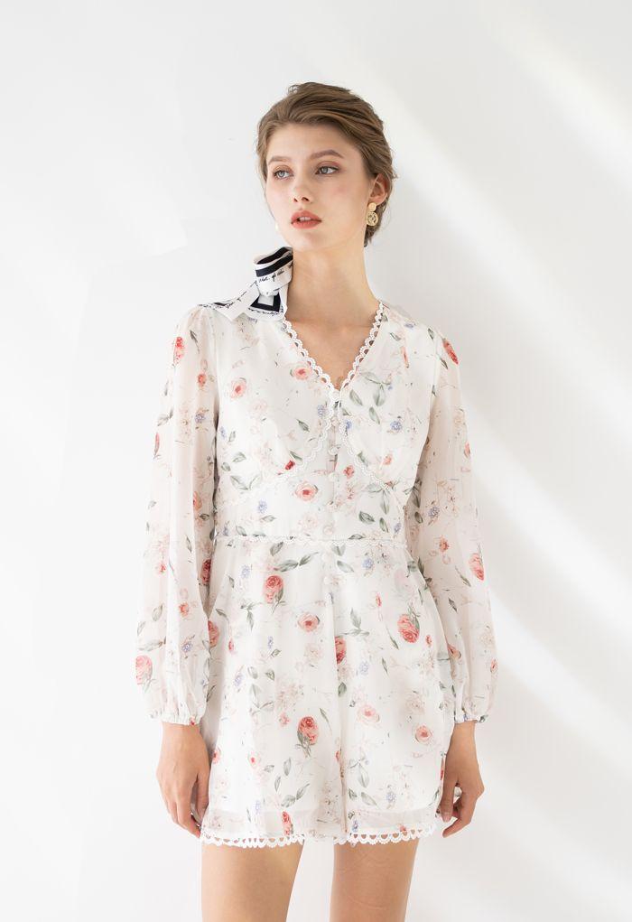 Button Trim Floral Crochet Chiffon Playsuit in White