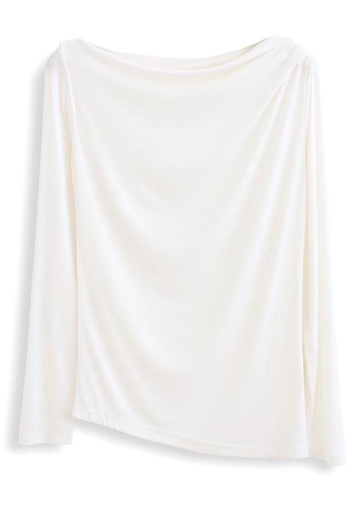 Drape Neck Long Sleeves Top in White