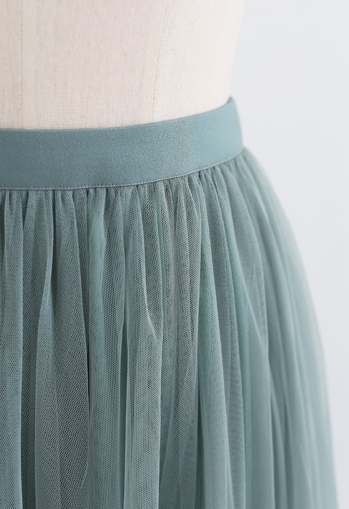 Can't Let Go Mesh Tulle Skirt in Turquoise