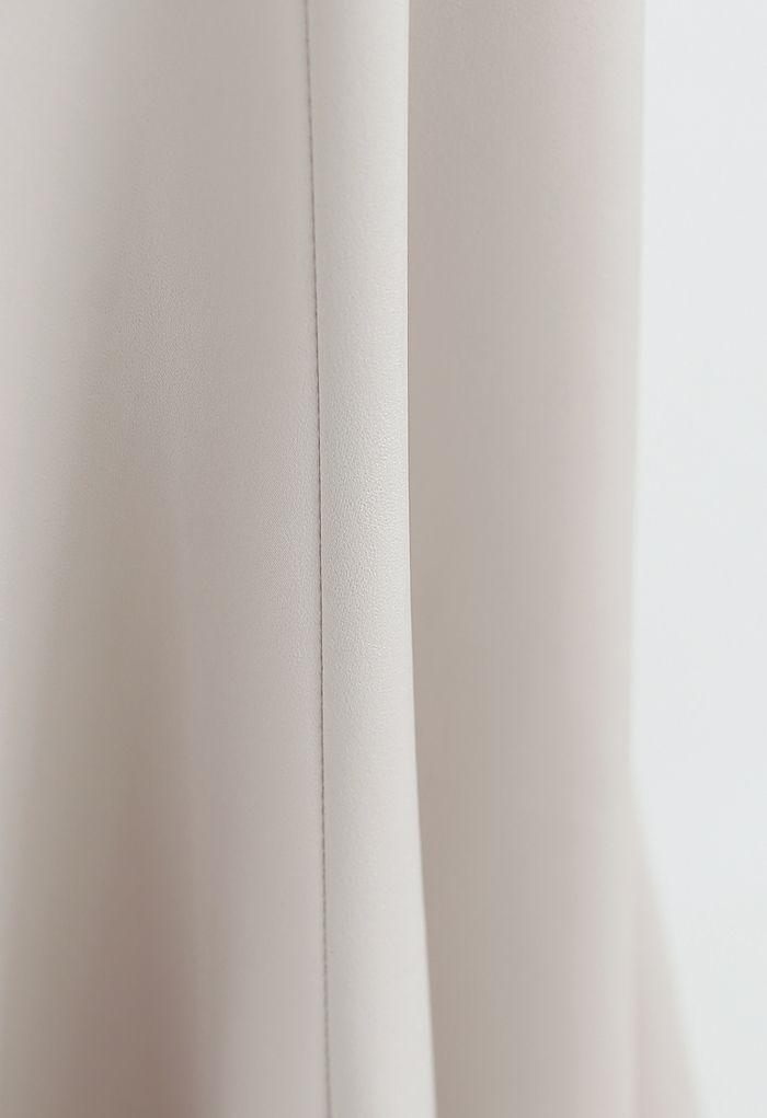 Satin A-Line Midi Skirt in Sand