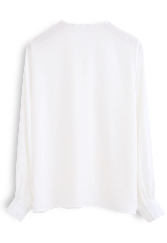 Satin Surplice Neck Sleeves Top in White