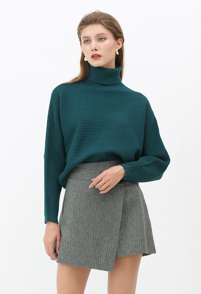 Basic Rib Knit Cowl Neck Crop Sweater in Dark Green