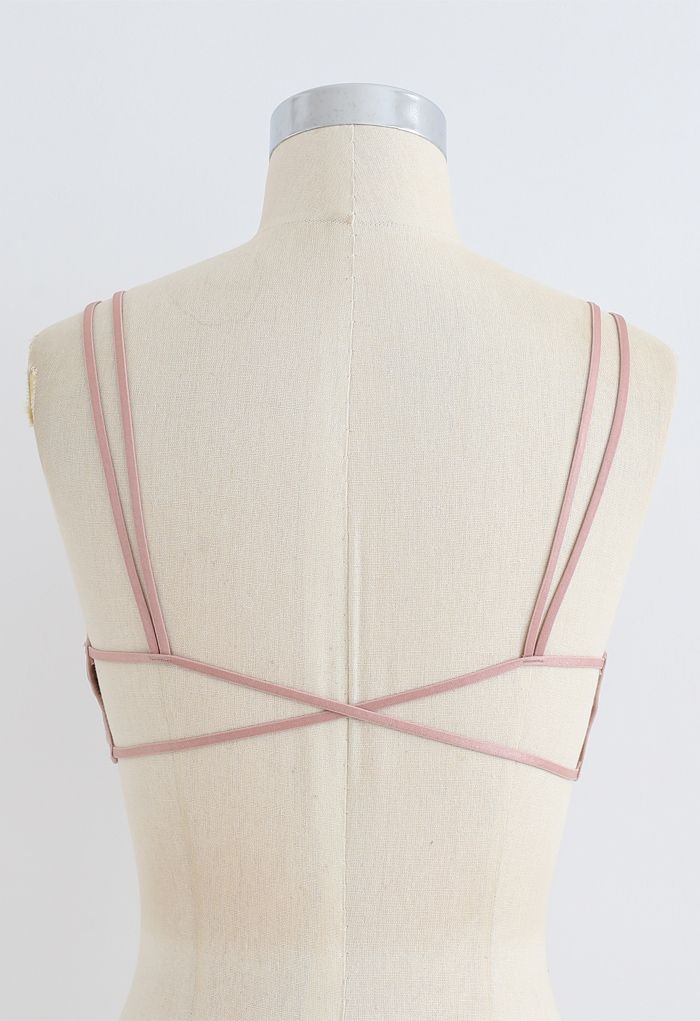 Double Straps Crisscross Back Bra Top in Dusty Pink
