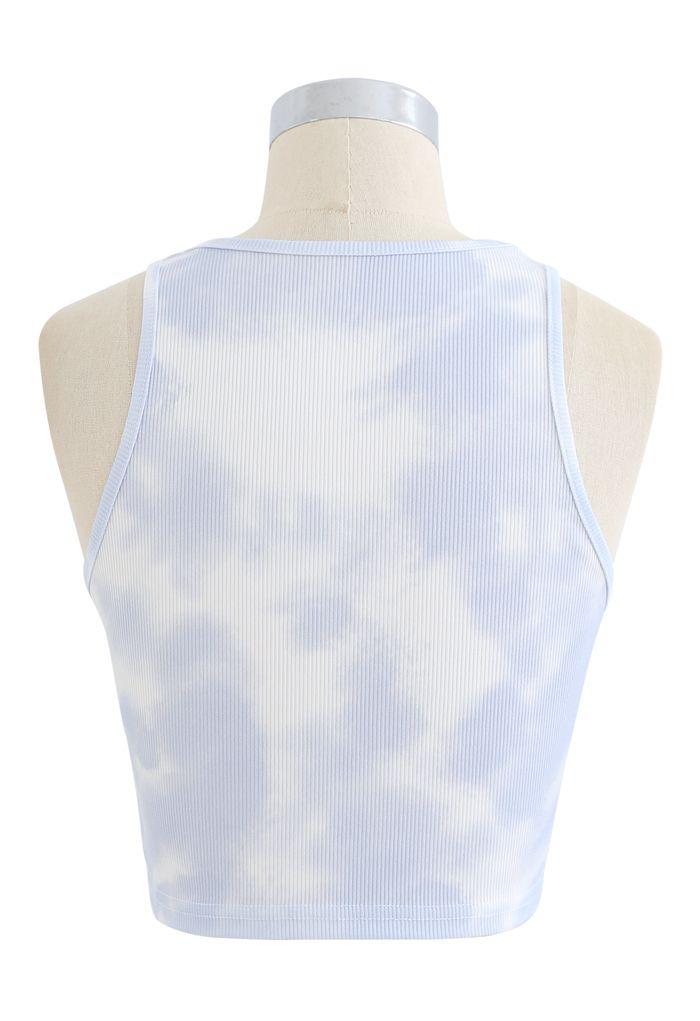 Pastel Tie-Dye Halter Tank Top in Light Blue