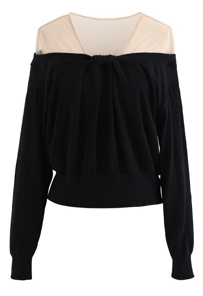 Mesh Shoulder Drape Neck Knit Sweater in Black