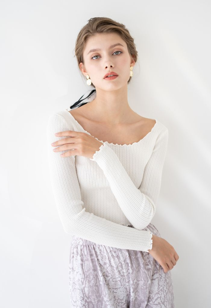 Lettuce-Hem Crop Knit Top in White