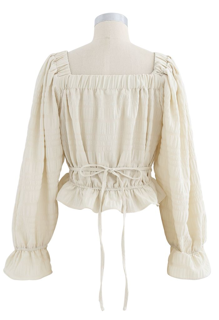 Square Neck String Button Crop Top in Cream