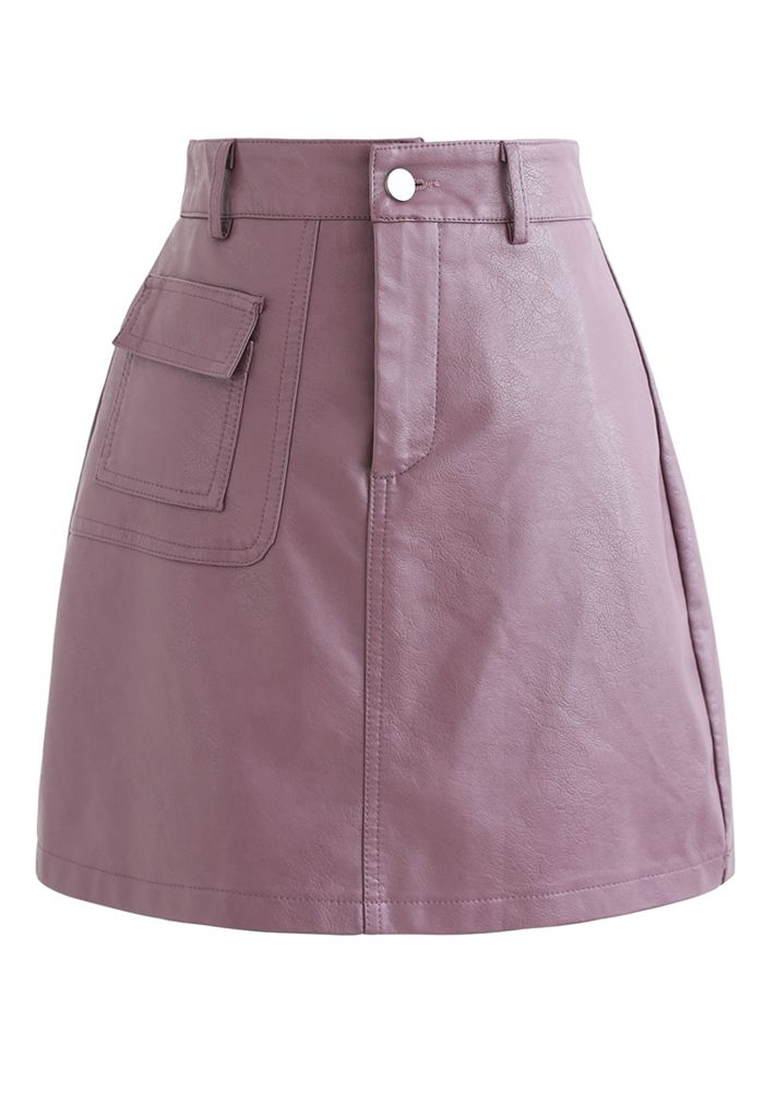 Pocket Faux Leather Texture Skirt in Plum