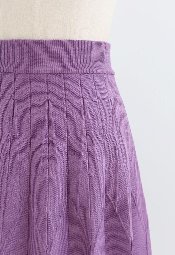 Stripe Pleated A-Line Knit Skirt in Purple