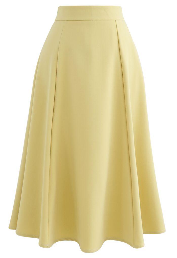 Seam Detail Flare Hem Midi Skirt in Yellow