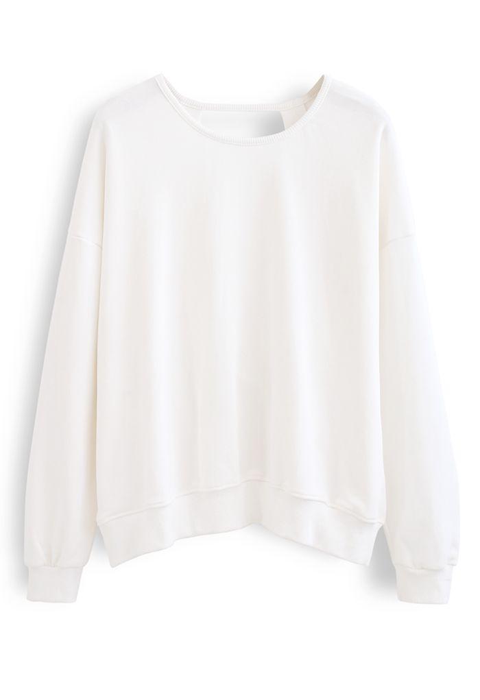 Crisscross Open Back Sweatshirt in White