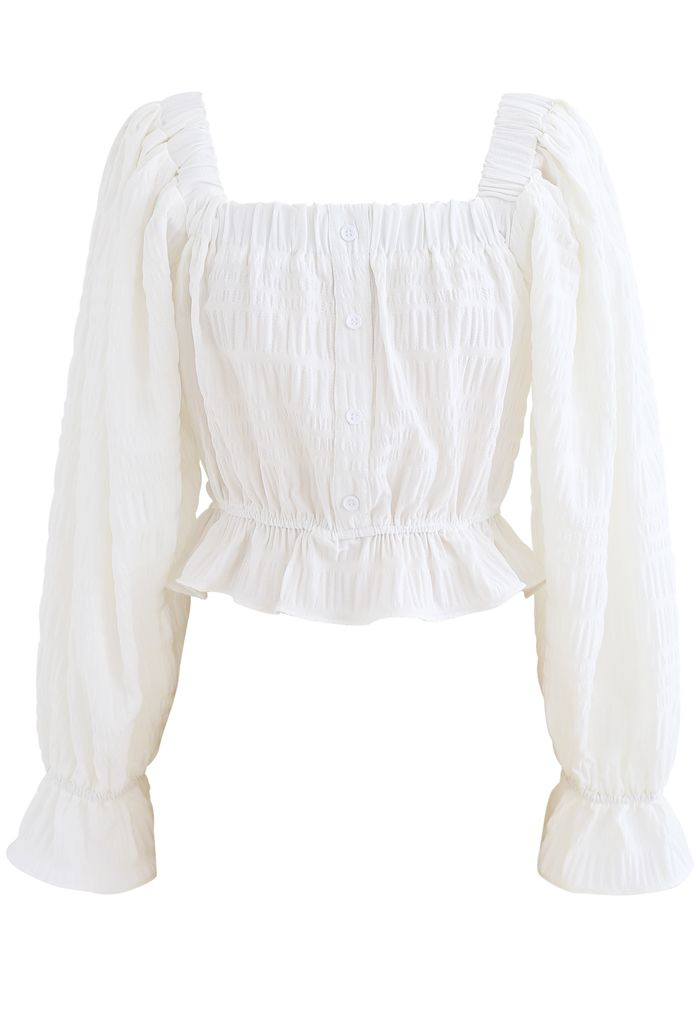 Square Neck String Button Crop Top in White