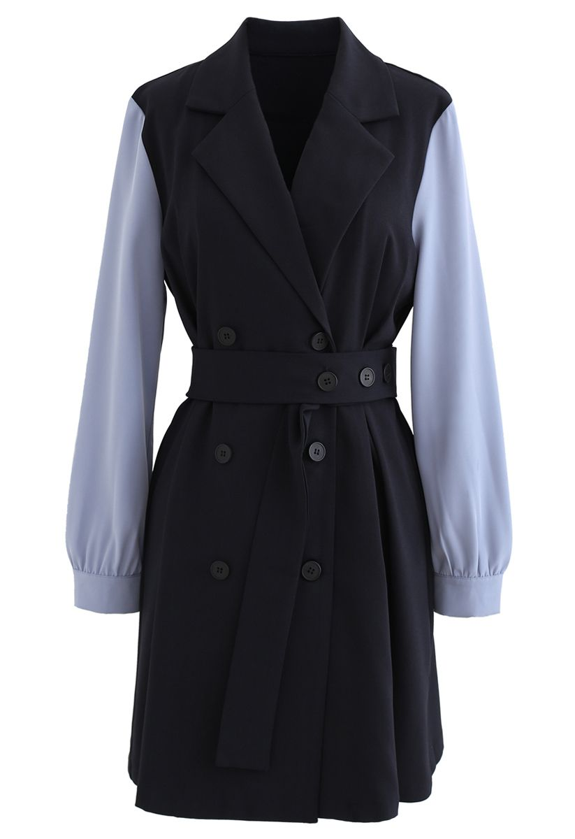 Contrast Color Double-Breasted Chiffon Trench Coat in Navy