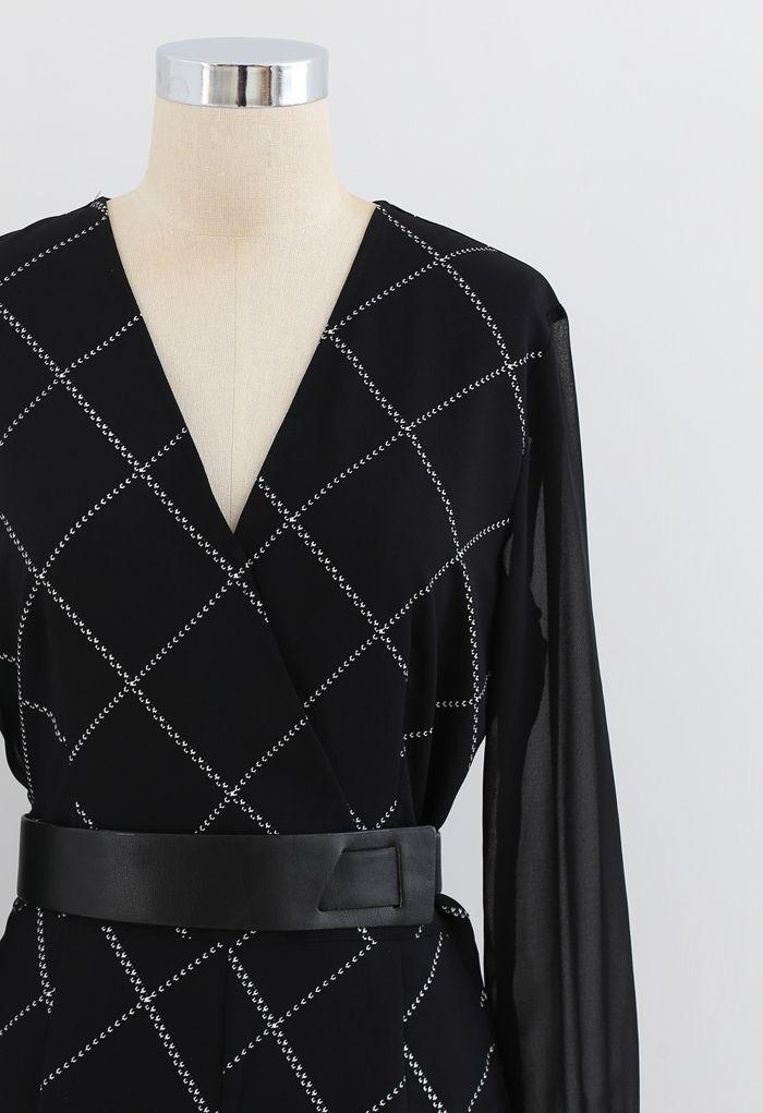 Belted Grid Wrap Chiffon Jumpsuit