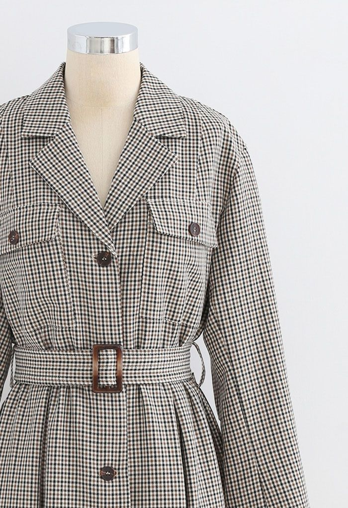 Button Down Houndstooth Belted Coat in Brown