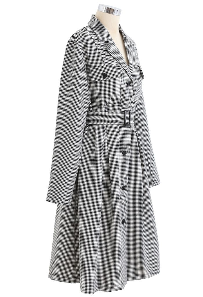 Button Down Houndstooth Belted Coat in Black