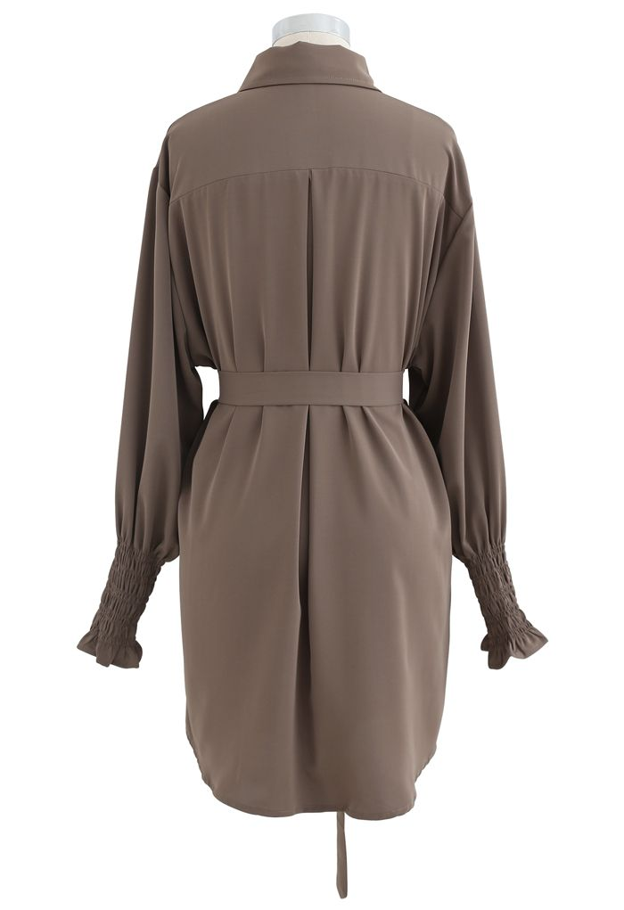 Belted Button Down Hi-Lo Shirt Dress in Brown