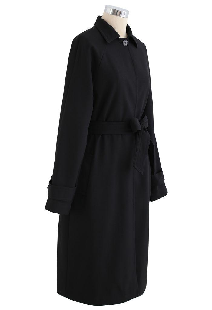 One Button Belted Longline Pocket Coat