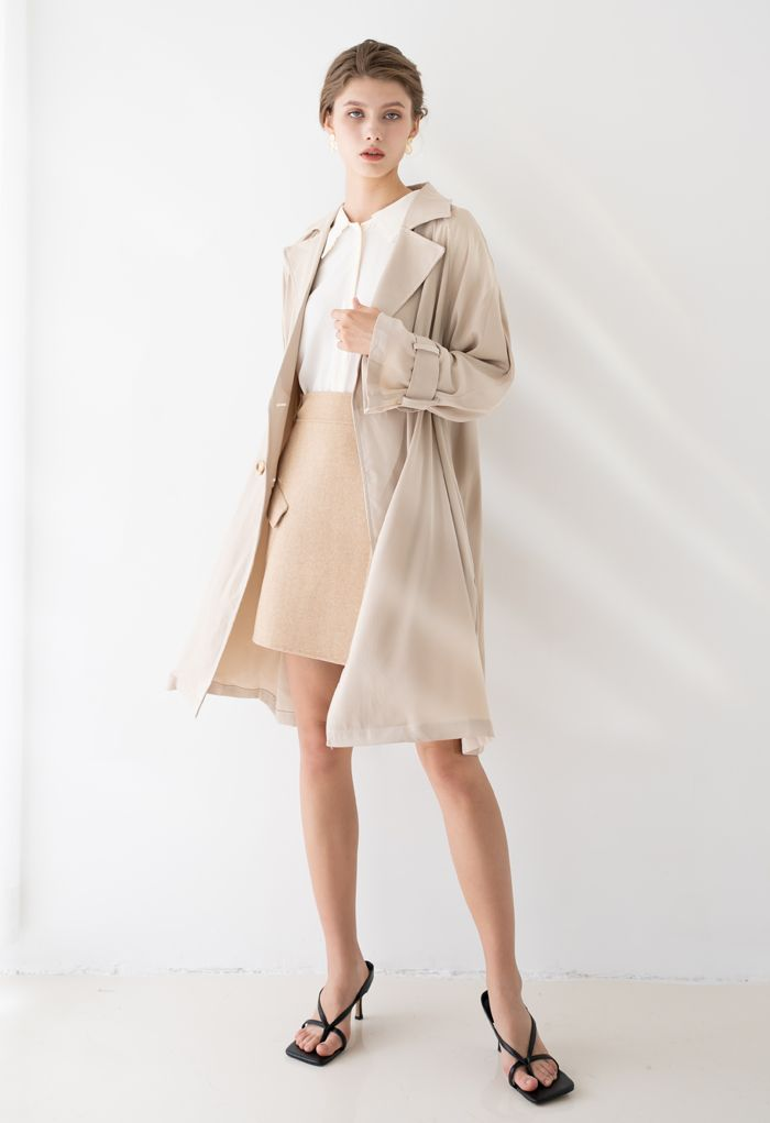 Belted Double-Breasted Chiffon Trench Coat in Sand