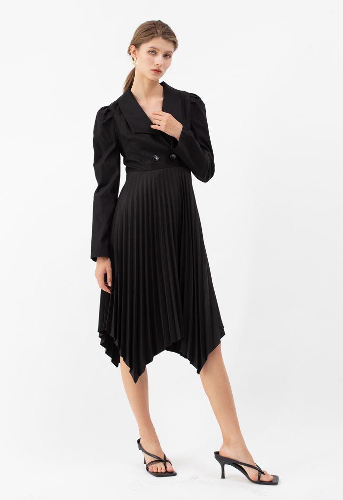 Asymmetric Pleated Buttoned Blazer Dress