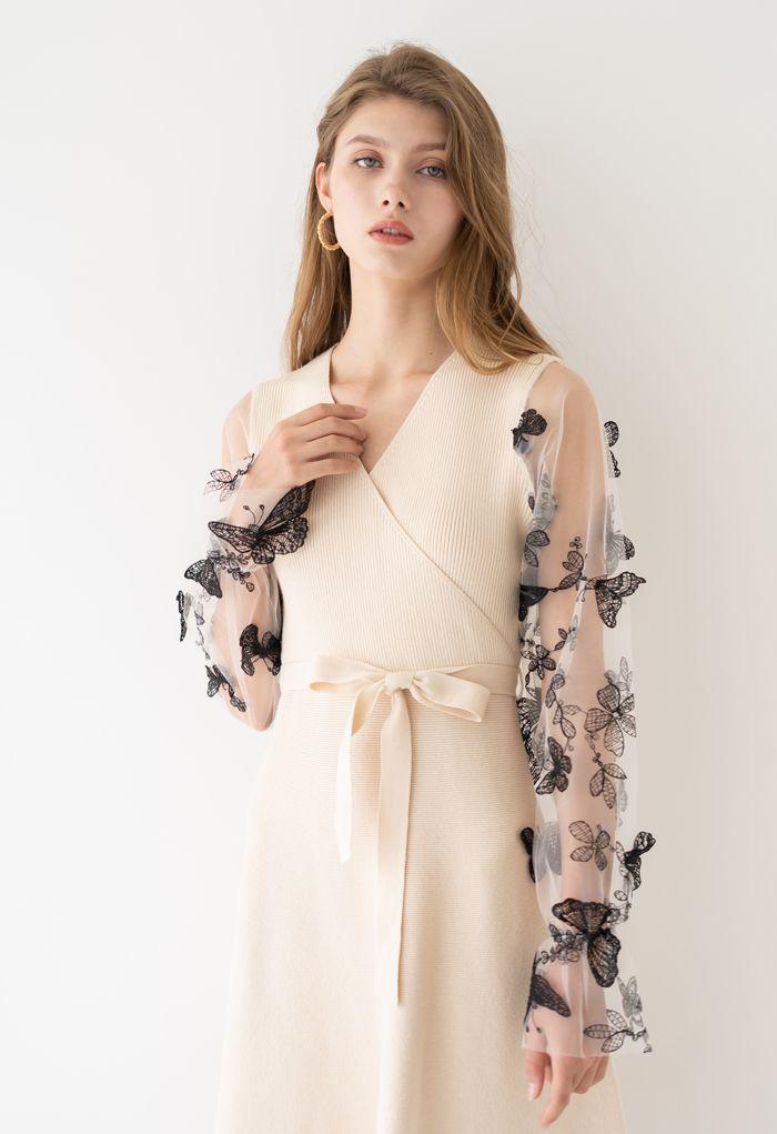 3D Butterfly Mesh Sleeves Wrap Knit Dress in Cream