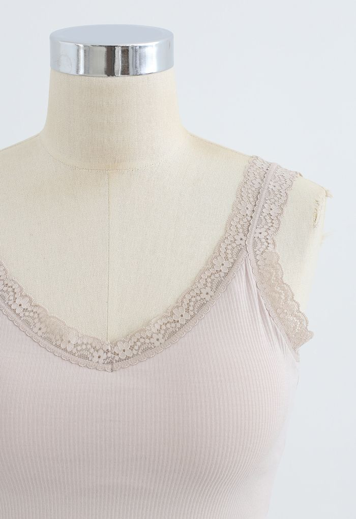Lace Straps Tank Top in Nude Pink