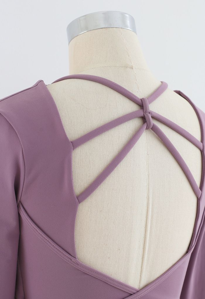 Crisscross Backless Crop Top in Purple