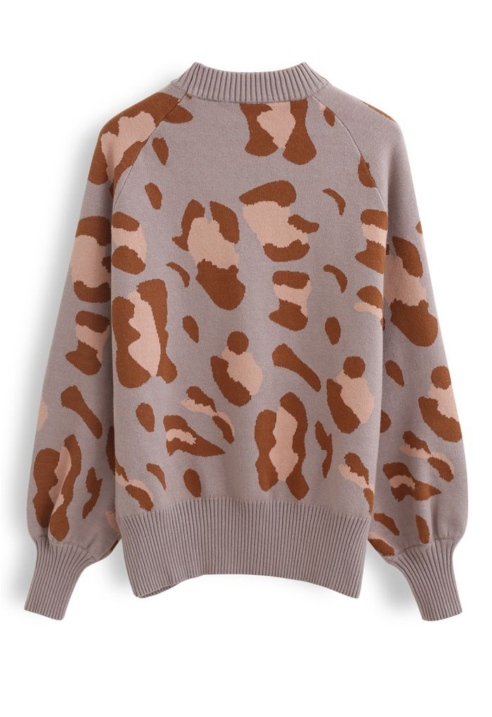 High Neck Irregular Print Ribbed Knit Sweater in Taupe