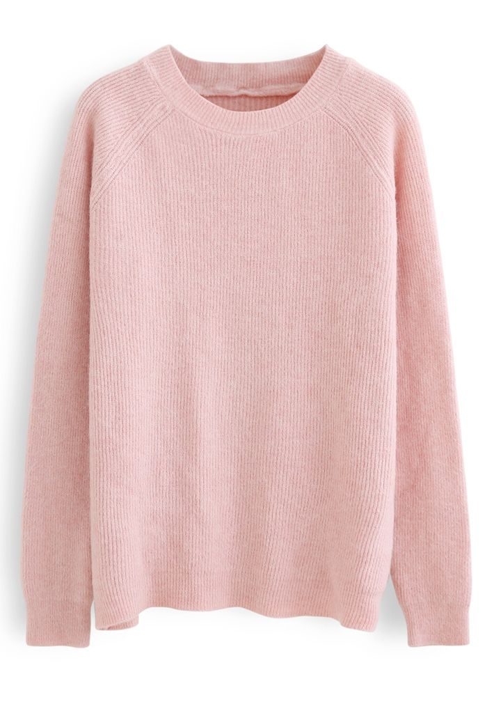Basic Soft Touch Oversized Knit Sweater in Pink