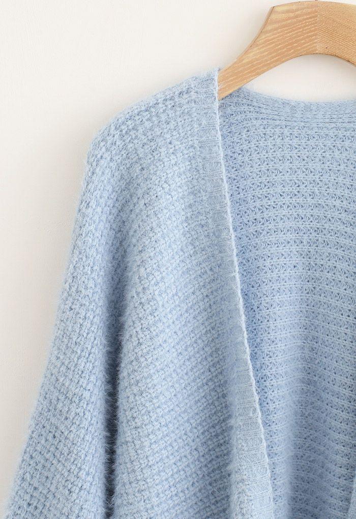 Fuzzy Open Front Waffle Knit Cardigan in Blue