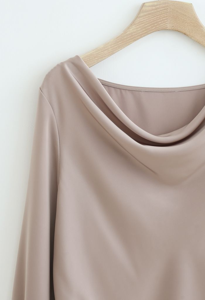 Satin Drape Neck Versatile Shirt in Light Tan