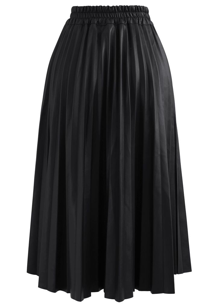Faux Leather Pleated A-Line Midi Skirt in Black