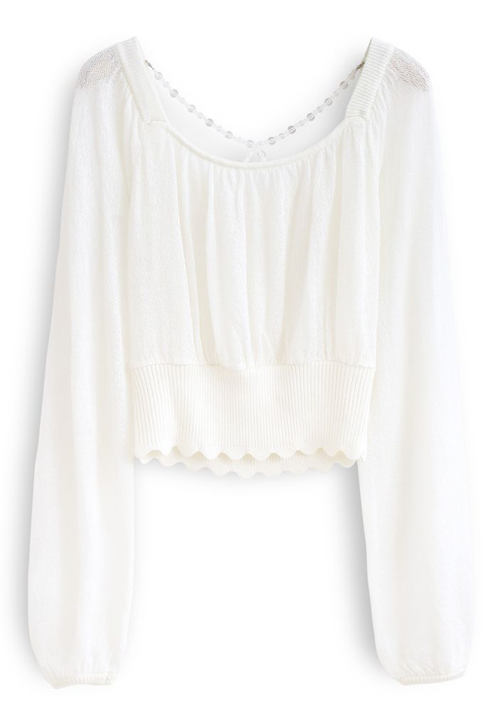 Crisscross Pearl Square Neck Crop Knit Top in White