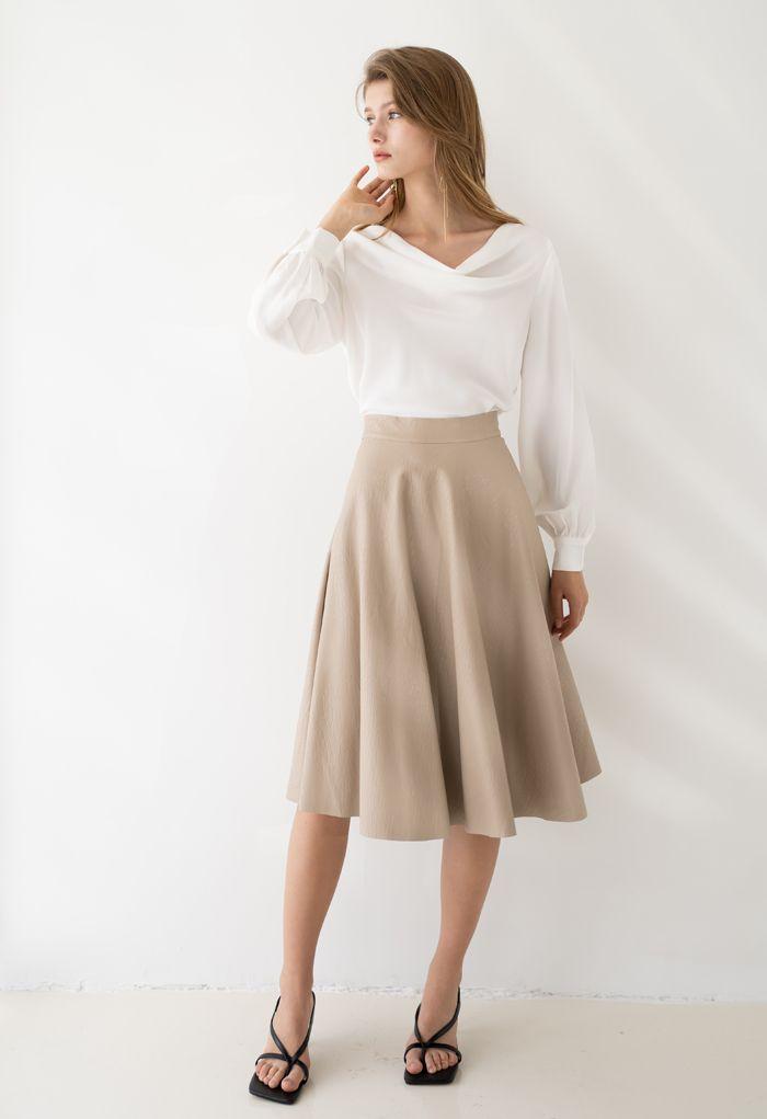 Satin Drape Neck Versatile Shirt in White
