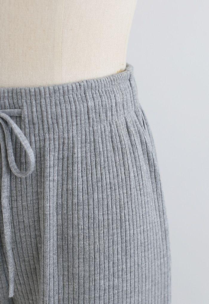 Cropped Wide-Leg Drawstring Knit Pants in Grey