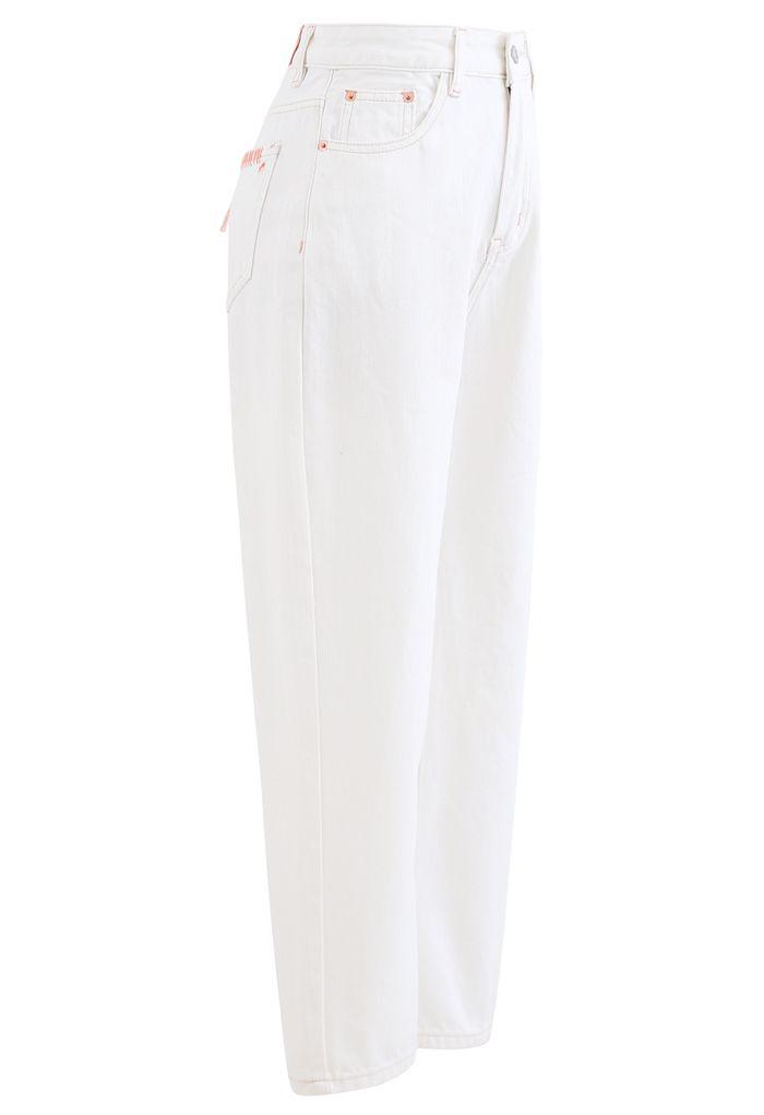 Straight-Leg Crop Jeans in White